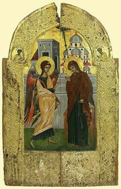 Detailed view: Royal Doors with the Annunciation- exhibited at the Temple Gallery, specialists in Russian icons Religious Images, Religious Icons, Religious Art, Byzantine Icons, Byzantine Art, Royal Doors, Russian Icons, Angel Pictures, Orthodox Icons