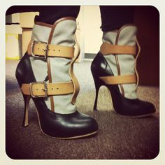 Oh-so-cute, although a little piece of my mind is wondering how I would actually wear these stick-thin stiletto boots without tripping and falling on my face. (Vivienne Westwood)