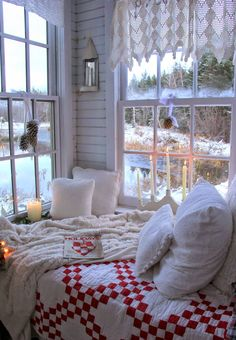 So cozy. All white in and outside and blankets. I would add a cup of coffee and some love though :)