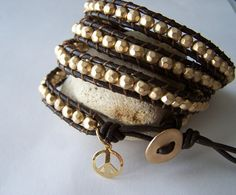 Gold Vermeil Beaded Peace Leather Wrap Bracelet by justhipstuff, $59.99