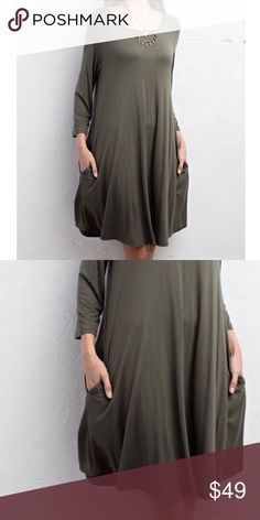 SWING DRESS Long Sleeve Mini Solid Pullover Tunic Available Sizes: S, M, L. Brand New.  • Beautiful & sophisticated, this swingy mini dress is perfect for dressing up or down. • Features 3/4 length sleeves, rounded seamed neckline & side hip pockets.  • Lightweight, semi-stretchy silhouette, unlined. • Color is a light mixed green. • Rayon, Spandex. • Measurements in comment(s) section below.    {Southern Girl Fashion - Boutique Policy}   ✔️ Same-Business-Day Shipping (10am CT). ✔️ Price…