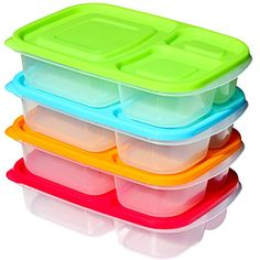 Sunsella Buddy Boxes - Plastic Bento Lunch Boxes - NOT Leakproof - 4 Pack