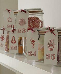 stipje - christmas - advent calendar >> love the jars with pretty tags as an advent calendar