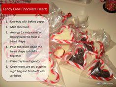 christmas food -- candy cane chocolate hearts
