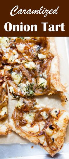 Caramelized Onion Tart, a crispy savory tart made with puff pastry, caramelized onions, and gorgonzola and brie cheeses. Perfect for holiday entertaining!