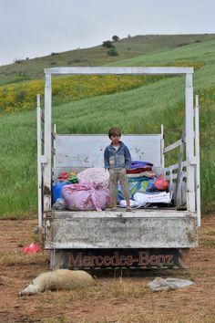a boy on a truck