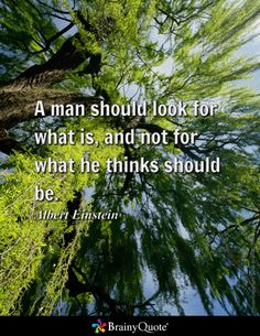 A man should look for what is, and not for what he thinks should be. - Albert Einstein
