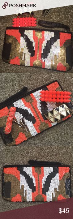New Forever 21 Sequins Clutch And Jewelry Bundle All items are new without tags and never used from Forever 21.  Clutch is 10 inches in length 5 1/2 inches wide.  Bundle comes with three bracelets, a pair of earrings, and a clutch.  All bracelets are elastic. Orange spike bracelet has some black markings at the tips from being stored inside the purse. Forever 21 Bags Clutches & Wristlets