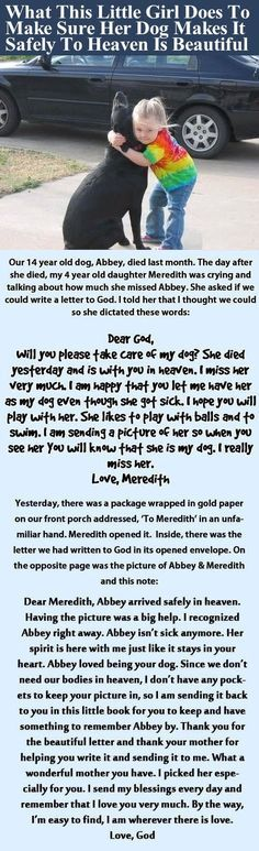 What This Little Girl Does To Make Sure Her Dog Makes It Safely To Heaven Is Beautiful cute animals dogs kids adorable dog story puppy animal pets children stories heart warming