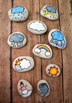 These weather story stones are a DIY toy designed for story-telling prompts and for narrative play. Story stones are fun and so easy to make plus your kids can enjoy them for years! They could also be helpful when teaching younger kids about our chan Stone Crafts, Rock Crafts, Crafts To Sell, Diy And Crafts, Arts And Crafts, Pebble Painting, Pebble Art, Stone Painting, Story Stones