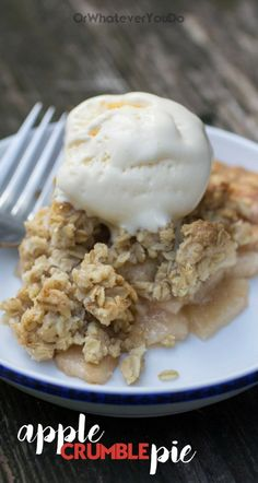 Apple crumble pie is the best of both worlds! All the goodness of apple crisp and apple pie, in one nearly perfect dessert. Studded with gooey caramel, and topped with a dollop of french vanilla ice cream.