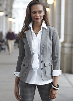 CAbi Fall 12 collection: Counsel Pant with Republic Blouse and Half & Half Jacket. For more info, please contact Sandra, Independent CAbi consultant at coolfashion.sense@gmail.com