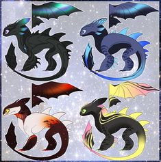 Colored sketches from 💕✨ . Cute Disney Drawings, Cute Animal Drawings, Cute Drawings, Wings Of Fire Dragons, Cool Dragons, Mythical Creatures Art, Fantasy Creatures, Cute Toothless, Night Fury Dragon