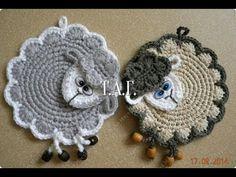 """Прихватка крючком """"Овечка"""". Crochet potholder """"lamb"""" tutotial - YouTube"""