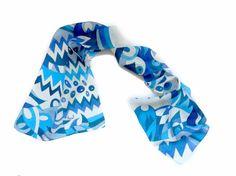 Blue chevron hand painted silk scarf.Chevron by ArmeniaOnSilk