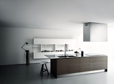 Wood veneer kitchen with island XILA ST by Boffi