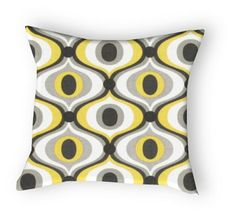 One Designer Pillow Cover Citrine Yellow Grey by WDavisDesign, $20.00
