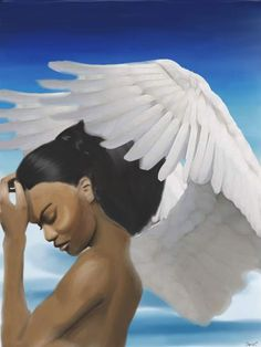 Angel Digital artwork with feathered wings by theartofstacy, $25.00