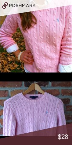 Ralph Lauren cable knit sweater pink size medium Perfect for fall!  Goes beautifully with a white button down.  Good condition Ralph Lauren size medium pink cable knit sweater. Light blue logo.  Any questions feel free to ask!  I love these sweaters, only reason I'm selling is because I am now a large 😪.  Offers welcome! Happy shopping ☺️ Ralph Lauren Sweaters
