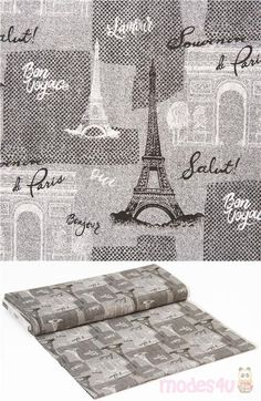 grey cotton fabric with cool landmarks artwork drawn by hand with landmarks of Paris, very high quality fabric, typical great Timeless Treasures quality #Cotton #FamousPlaces #Landmarks #Letters #Numbers #Words #USAFabrics