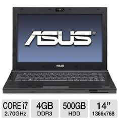 Work while on the go with the powerful ASUS PRO Laptop Computer. It delivers efficient computing performance of a 2nd generation Intel Core i7-2620M 2.70GHz processor, fast operations from the 4GB of DDR3 memory, and a large storage capacity with the 500GB 7200RPM hard drive. It runs programs and applications under the Windows 7 Professional 64-Bit O/S, displayed on the laptop's 14-inch LED-backlit display with a 1366 x 768 image resolution.