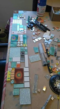 Fragile Earth, beautiful mosaic by Kathy ThadenMosiacs challenge your positioning skills Tile on top of surfaces, tiles in crevices.mosaic artists using slate Mirror Mosaic, Mosaic Wall, Mosaic Glass, Mosaic Tiles, Fused Glass, Stained Glass, Glass Art, Mosaic Crafts, Mosaic Projects