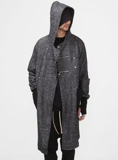 Dark Shadow Woolen Tweed Overlong Hooded Coat $112.00 #Fashion #Style #Street #Cardigan #Hoodie #Overlong