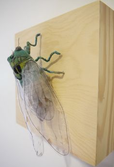 Fabric sculpture Green cicada textile art by irohandbags on Etsy