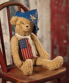 Bethany Lowe Americana Teddy Bear Patriotic US Flag Applique Primitive in Collectibles, Holiday & Seasonal, July Vintage Teddy Bears, My Teddy Bear, Love Bears All Things, Happy Birthday America, Patriotic Decorations, Holiday Decorations, Bethany Lowe, Bear Doll, Old Glory
