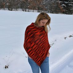 Orange Red Burgundy Flecked Poncho / Handknitted Red Multi