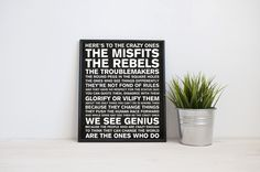 Steve Jobs quote Here's to the crazy ones 8x10 by MYjournalcompany