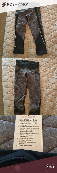 Lululemon run chase me Crop Original version with thick high quality luxtreme from Lululemon. Black with gray wee stripes. Fantastic side pockets on outer thigh, inner key pocket, zip pocket on back waistband. This size 4 has been well loved and is in great condition. My absolute fave technical piece from Lululemon just cant fit anymore. Selling several of this style. Image with model found online but exact same style and version as the crops I'm selling. lululemon athletica Pants Track…