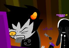 my favorite panel of homestuck so far. Gamzee in the back there, honking away. Jack has been reduced to facepalming.