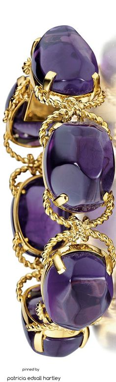 Verdura 18k Yellow Gold Rope & Amethyst Pebble Bracelet