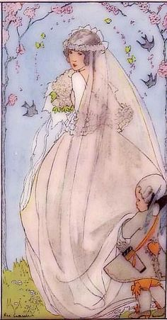 Print of May: The Bride Postcard by Rie Cramer. May: The Bride Postcard by Rie Cramer Vintage Cards, Vintage Postcards, Vintage Images, Children's Book Illustration, Vintage Children, Wedding Cards, Illustrators, Photos, Veil