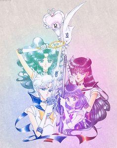 Imagen de sailor moon, sailor neptune, and sailor uranus