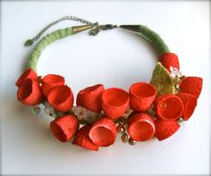 Necklace with silk cocoons Romantic handmade flowers by jurooma