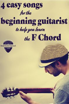 Don't let learning the F chord stop your progress! These easy guitar songs will help you the beginning guitarist learn how to play the F chord. Acoustic Guitar Chords, Learn Guitar Chords, Guitar Chords Beginner, Learn To Play Guitar, Guitar Tabs, Music Guitar, Playing Guitar, Learning Guitar, Guitar Classes