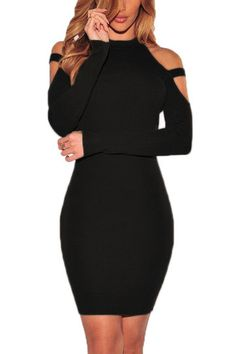 Black Cold Shoulder Round Neck Bodycon Mini Dress