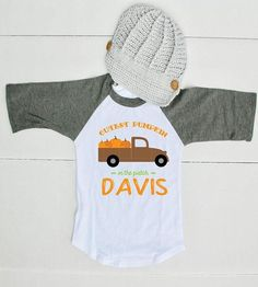 Is your baby ready to go to the pumpkin patch? This Cutest Pumpkin in the Patch shirt is too cute! From family get togethers and pumpkin patches to fall festiva Cute Fall Outfits, Boy Outfits, Holiday Outfits, Fall Baby Clothes, Cute Pumpkin, Pumpkin Spice, Birthday Boy Shirts, Fall Shirts, Fall Family
