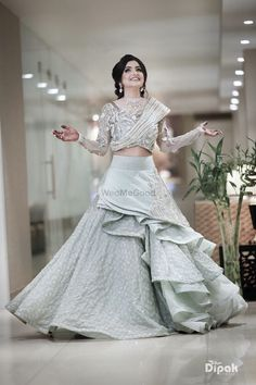 Photo of Layered floor length gown in pastel shade