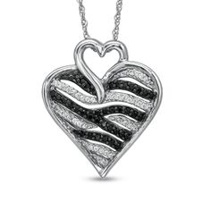 1/4 CT. T.W. Enhanced Black and White Diamond Zebra Heart Pendant in Sterling Silver - View All Necklaces - Zales