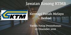 Keretapi Tanah Melayu Berhad Jawatan Kosong KTMB 07 Disember 2016  Keretapi Tanah Melayu Berhad (KTMB)mencari calon-calon yang sesuai untuk mengisi kekosongan jawatan Keretapi Tanah Melayu Berhad terkini 2016.  Jawatan Kosong KTMB 07 Disember 2016  Warganegara Malaysia yang berminat bekerja di Keretapi Tanah Melayu Berhad dan berkelayakan dipelawa untuk memohon sekarang juga. Jawatan Kosong Keretapi Tanah Melayu Berhad Terkini Disember 2016 1. ENVIRONMENTAL MONITORING EXECUTIVE RISK…