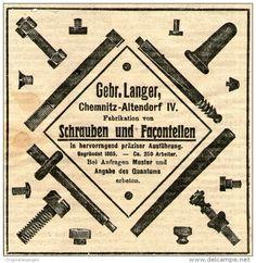 Original-Werbung/ Anzeige 1910 - SCHRAUBEN / LANGER - CHEMNITZ - ALTENDORF - ca. 90 x 90 mm
