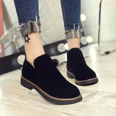 Round Toe Women Slip-On Suede Boots zapatos shoes women Simple Shoes, Casual Shoes, Formal Shoes, Women's Casual, Casual Wear, Mode Blog, Equestrian Boots, Ladies Slips, Dress Sandals