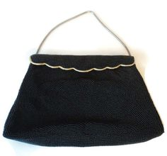 Vintage La Regale Italian Black Glass Seed Bead Clutch Evening Bag Purse by EraAntiquesandFinds on Etsy