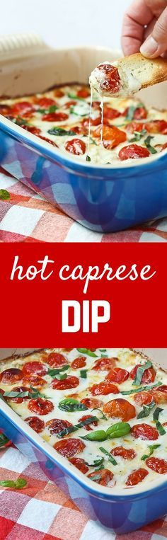 Hot Caprese Dip Recipe – You won't be able to stop going back for another bite of this addicting dip! Appetizer Dips, Yummy Appetizers, Appetizer Recipes, Simple Appetizers, Holiday Appetizers, Party Appetizers, Dip Recipes, Cooking Recipes, Free Recipes