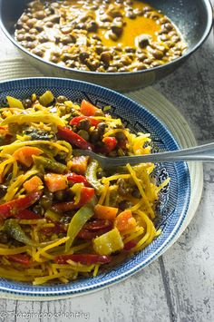 A vegan style Caribbean pigeon pea coconut curry with butternut squash noodles