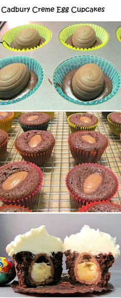 Cadbury cream egg cupcakes - must make for Easter!
