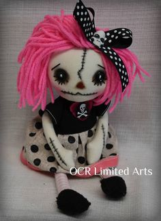 Gothic doll LORA creepy cute Rag Goth Tattered spooky cute emo collectible home decor Stitches Broken china gift Handmade Art Doll OOAK by OCRLimitedArts on Etsy Zombie Dolls, Scary Dolls, Ugly Dolls, Voodoo Dolls, Cute Dolls, Monster Dolls, Halloween Doll, Halloween Crafts, Doll Crafts